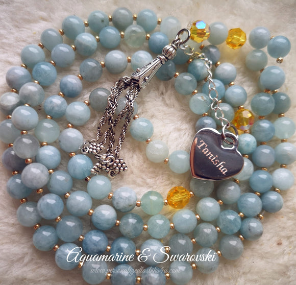 Aquamarine Gemstones with Swarovski