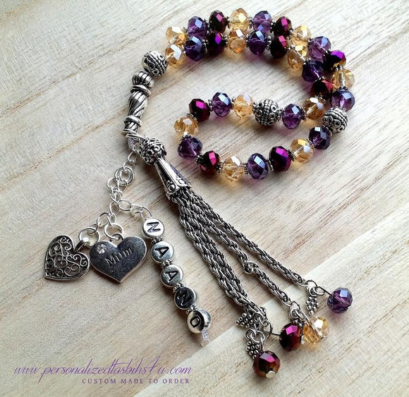 Purple & Gold Crystals-PersonalizedTasbihs4u