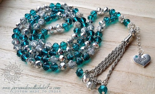 Turquoise & Silver-PersonalizedTasbihs4u