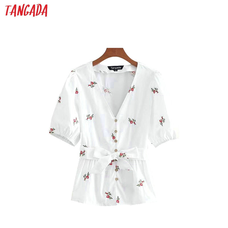 Tangada summer flower embroidery blouse for summer retro shirt lantern short sleeve boho style bow belt blouses v-neck tops CE21