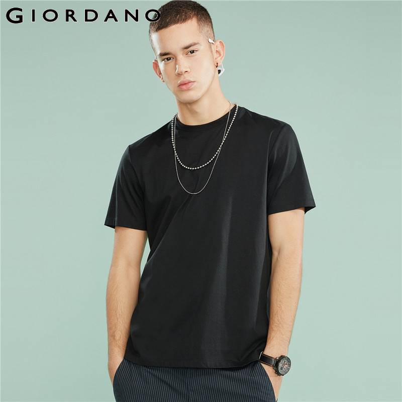 Giordano Men Tshirt Men Cotton High Quality Performance Tees 100% Smooth Cotton Ribbed O Neck Solid T Shirt Homme Brand
