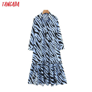 Tangada korean style long animal blouse dress long sleeve turn down collar pleated dresses for women ladies vestidos 3Z71