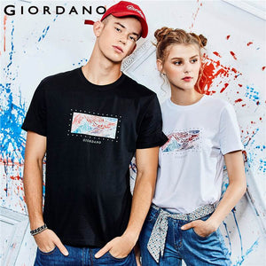 Giordano Men T Shirt Women Unisex Printed Graphic O-neck Personal Style 100% Cotton Casual Tshirt Fashion Streetwear Homme