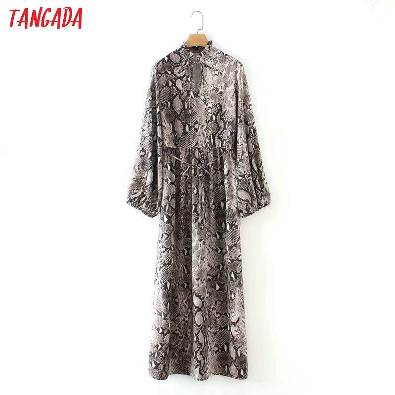 Tangada vintage style bow tie neck maxi dress woman snake print lantern sleeve retro female side open long dresses vestidos 1F32
