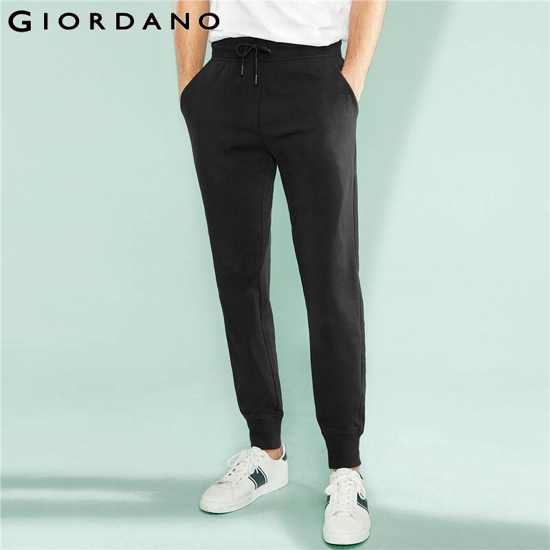 Giordano Men Joggers Men Pants Drawstring Elastic Waist Knit Joggers Men Pants Slant Pocket Pantalon Homme Cotton Spandex Blend