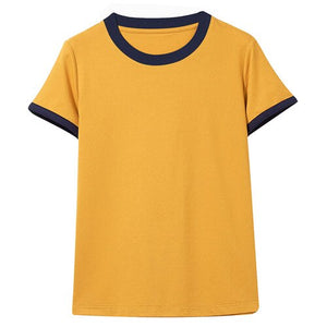 Giordano Women Tshirt Women Ribbed Contrast-color Crewneck Durable Tee Shirts Women Simple Style Stretchy Tshirt