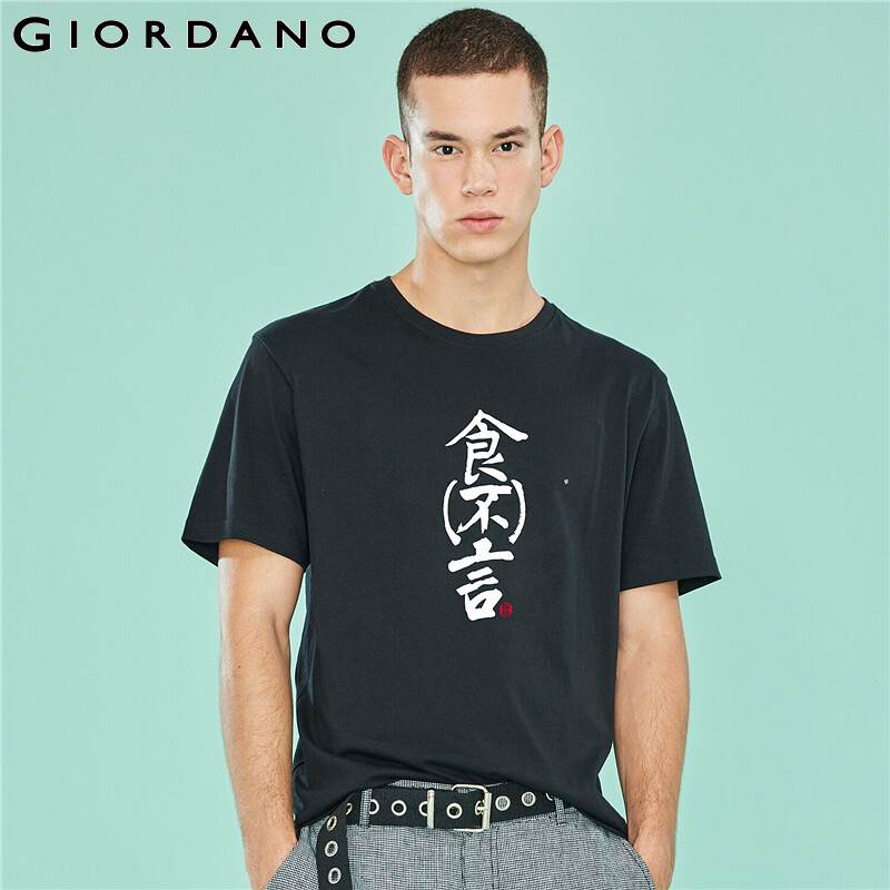 Giordano Men Cotton T-shirt Men Print Chinese Handwriting Graphic Tshirt Men Popa Hombre Casual Camiseta