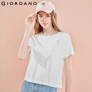 Giordano Women  Tshirt Small Embroidered Pattern T-Shirt For Lady Short Sleeve Summer Womens Clothes Comfort Fit Tee Shirt