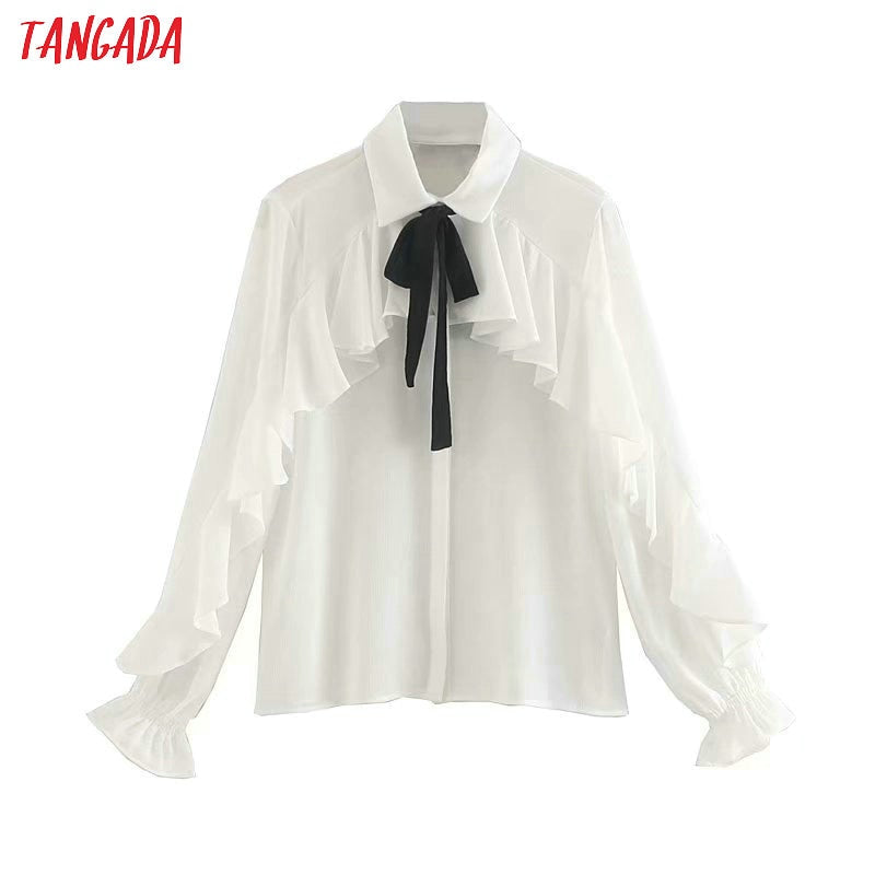 Tangada  women ruffle white shirts long sleeve solid bow tie neck elegant office ladies work wear blouses 5Z22