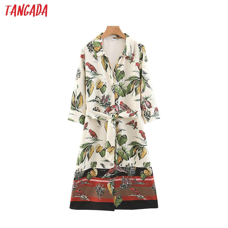 Tangada fashion women floral print dresses chiffon turn-down collar half sleeve sashes knee-length dresses 3Z65