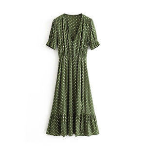 Tangada women vintage green dots midi dress v neck short sleeve side open strethy waist female pleated  3H250