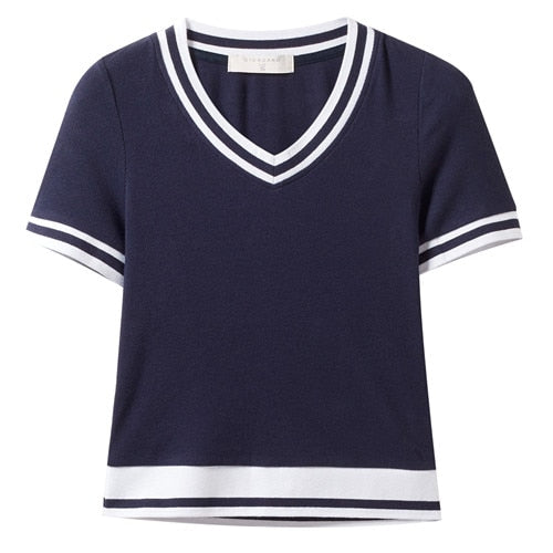 Giordano Women T Shirt Women Contrast-color V-neck Knitted Tshirt Women Stretchy Fabric Short Sleeve Striped Summer Camiseta