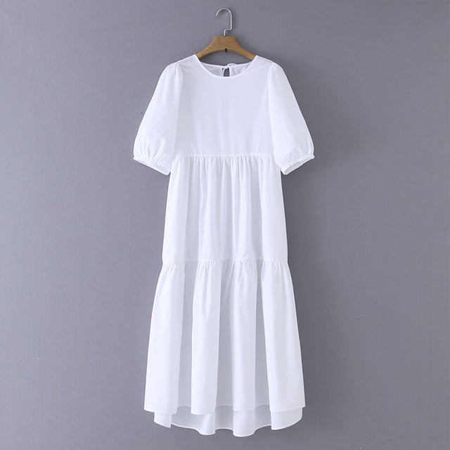 Tangada women solid dress pleated half lantern sleeve female casual white dresses chic veslidos XZH151
