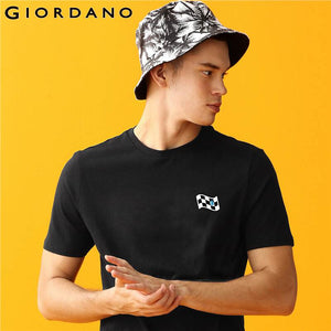 Giordano Men T-shirt Men Printed Plaid Pattern Tshirts Men Contrast Color Short Sleeves Printed Letter Camiseta Hombre
