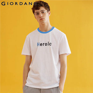 Giordano Men Embroidered letter crewneck cotton tee