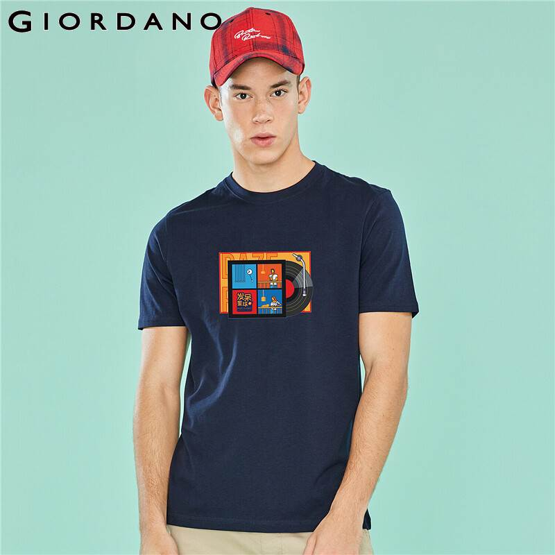 Giordano Men DAZE PLANET Sumer Tee Men Printed Recorder Pattern Stylish T-shirt Men Soft Cotton Material Camisetas