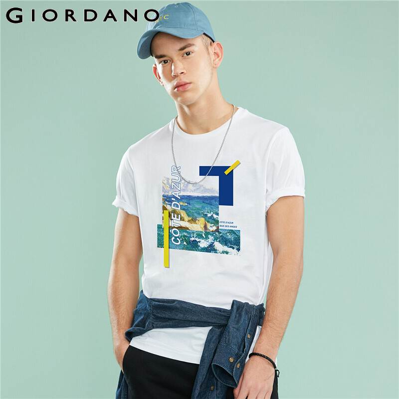 Giordano Men CHEN HUI Couple T-shirt Women Printed Blue Coast Pattern Cotton Summer Tshirt Short Sleeve Fashion Camisetas