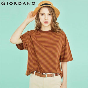 Giordano Women Tshirt Women 2019 Summer New Arrivals Contrast Color Stripes T-shirt Girl Cotton Spandex Colorful Camisa