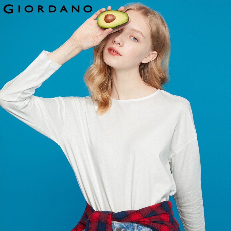 Giordano Women Tshirt Women Drop-shoulder Sleeve Loose Fit Autumn T-shirt Round Neck Simple Design Mujer 05329797