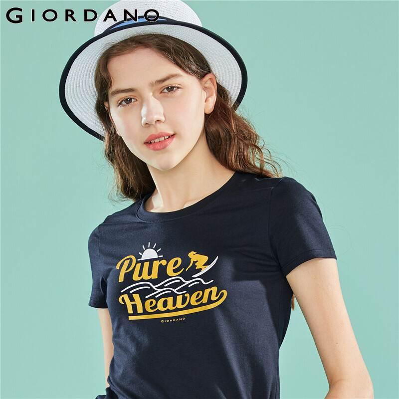 Giordano Women Tshirt Short Sleeve Graphic Tee Shirt Femme Cute Cartoon Camisetas Verano Mujer 100% Cotton Tops Young Women