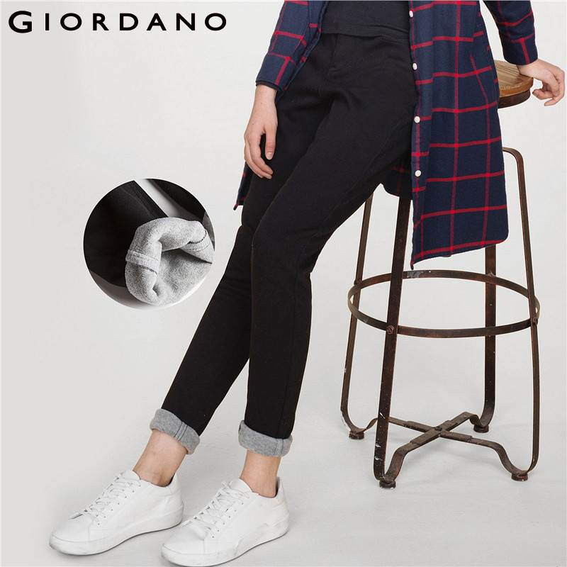 Giordano Women Pants Women Stretchy Fleece Lined  Slim Fit Casual Pants Women Warm Smooth Zip Fly Trousers Women Autumn Female