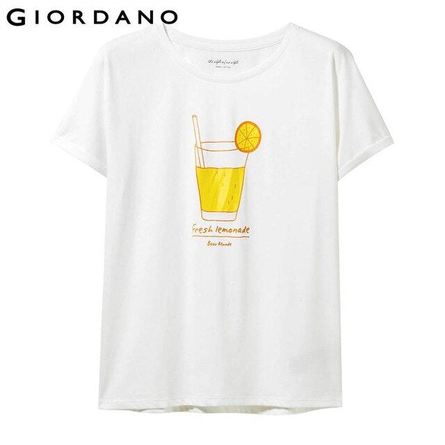 Giordano Women T Shirt Women Printed Drinks Japanese Style Kimono Sleeve Crewneck T-shirt Women Cotton Summer Tee