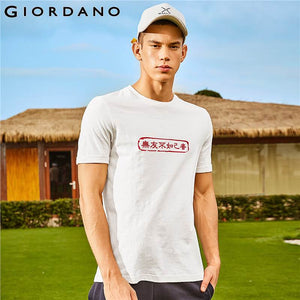 Giordano Men Tshirt Men Ribbed Round Neck Chinese Classic Slogan Printing Tee Shirt Men Crewneck Short Sleeve Casual New Arrival