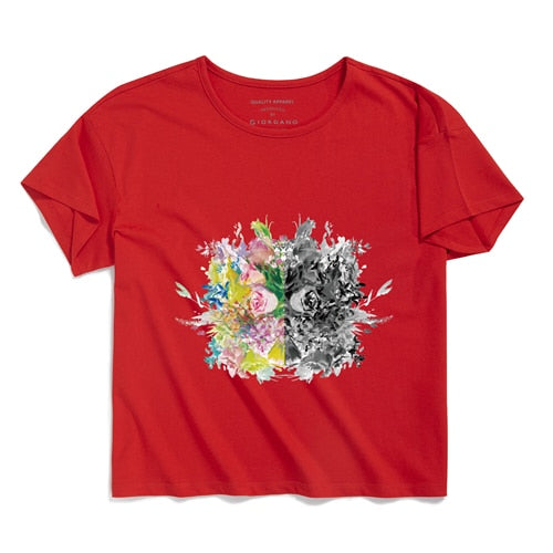 Giordano Women Tshirt Men CHEN HUI Series Couple Tees Printed Flowers Pattern 100% Cotton Camisas Hombre