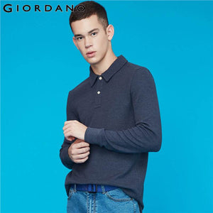 Giordano Men Polo Shirt Waffle Pattern Long-sleeve Polo Shirt Men Thick Solid Polos Para Hombre Split Hem Camisa Polo 01019783