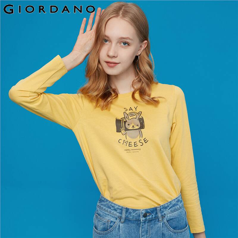 Giordano Women Tshirt Long Sleeve 100% Cotton Tops Printed Animal Graphic Camiseta Mujer Casual Roupas Feminina 13399710
