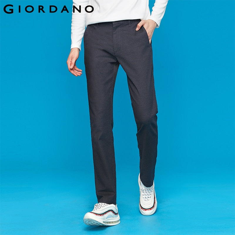 Giordano Men Casual Pants Men Stretchy Smooth Fabric Pantalones Hombre Slim Fit Mid-low Rise Pockets Pants 01119076