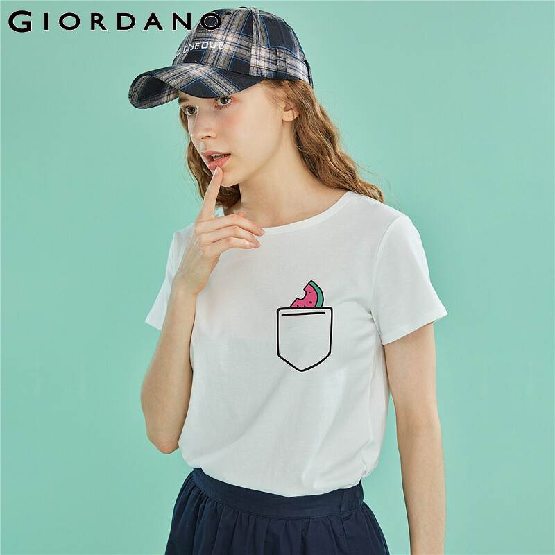Giordano Women Tshirts Women Printed Fruit Pattern JOURNEY TO THE SEASIDE Funny T Shirt Summer Short-sleeve Poleras Mujer