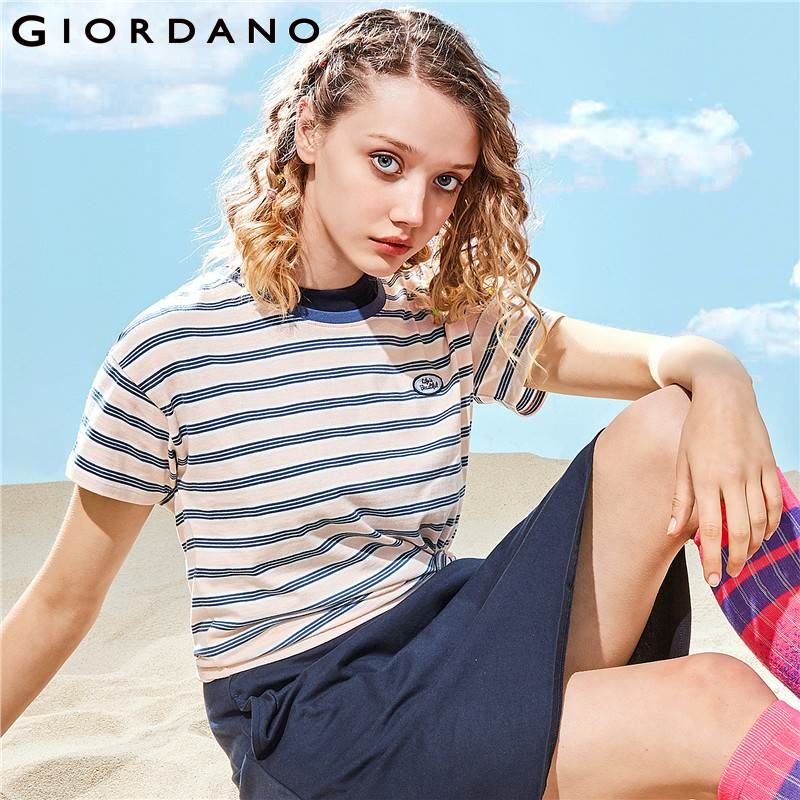 Giordano Women Tshirt Printed Graphic Tee Loose Short Sleeve T Shirt Chemise Femme Letter Camisa Feminina Soft Summer Tops