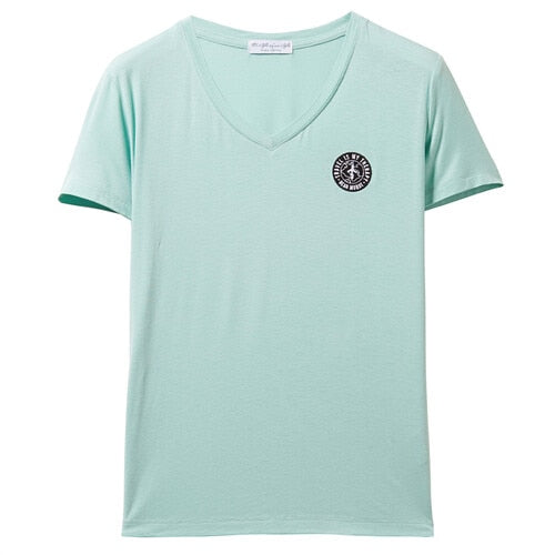 Giordano Women T-shirt Short Sleeve Badge Tshirt V-Neck Embroidery Casual Tops For Women Camisetas Verano Mujer 13329218
