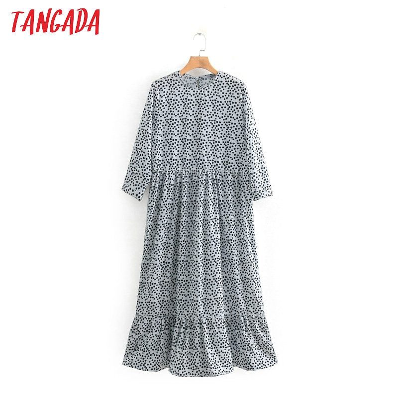 Tangada fashion women dot print pleated dress ruffles o-neck three quarter sleeve female casual midi dresses vestidos 2W52