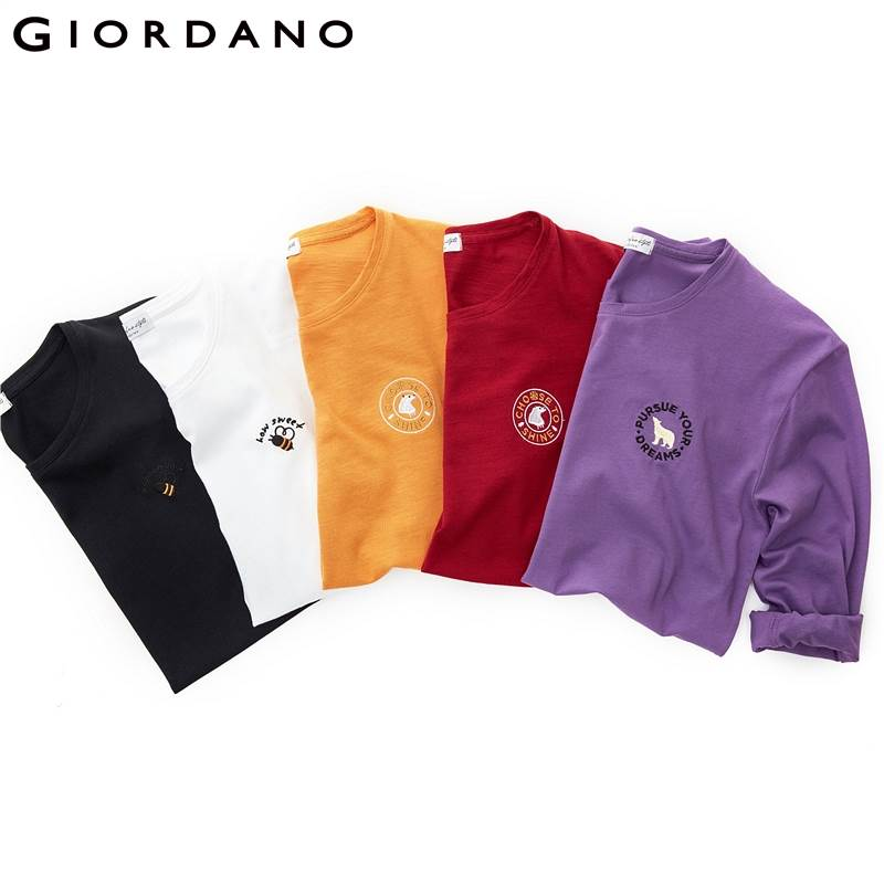 Giordano Women Tshirt Embroidered Animal Pattern Crewneck T Shirt Long Sleeve 100% Cotton Tee Shirt Femme Casual Tops 13329810