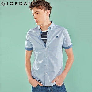 Giordano Men Shirt Men Embroidered Frog Stretchy Oxford Fabric Slim Fit Shirt Homme Short Sleeve Button Front Contrast Color Top
