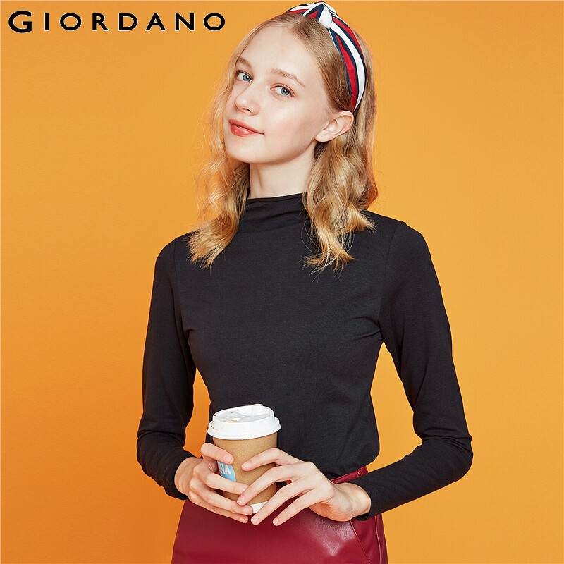 Giordano Women Tshirt Long Sleeve Mockneck Solid Tee Shirt Femme Stretchy Cotton Blended Camisetas Mujer 13329804