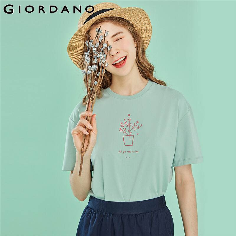 Giordano Women T Shirt Funny Graphic Short Sleeve Tops For Women Ribbed Crewneck Printed Poleras Mujer De Moda Regular Fit