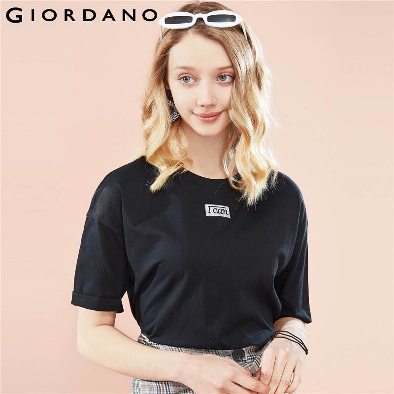 Giordano Women Tshirt Women Graphic Embroidered And Printed Letters Ribbed Round Neck Loose Cutting Short Sleeve T-shirt Women