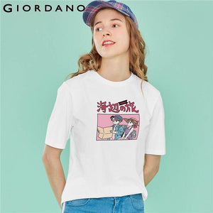 Giordano Women Tshirt Women JOURNEY TO THE SEASIDE Theme Printing Short Sleeve Summer Tshirt Woman Casual Fashion Tees