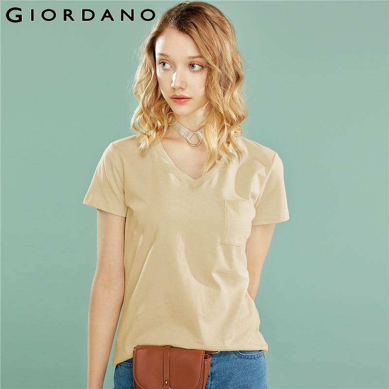 Giordano Women Tshirt Women Ribbed V-neck 100% Pure Cotton Pocket Tees Femme Short Sleeve Smooth Soft Summer Tees 2019