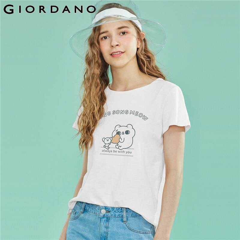 Giordano Women Printed T-shirt Women Little Cats Graphic 100% Cotton Women T Shirt Letters Fashion Roupas Feminina