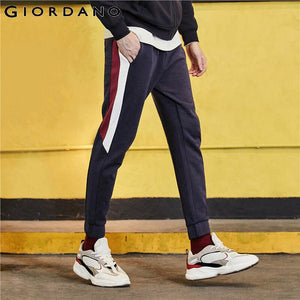 Giordano Men Pants Interlock Contrast Joggers Elastic Wasit With Drawstring Slightly Thick Calca Masculina 01119081