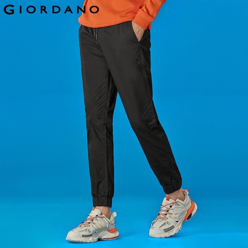 Giordano Men Jogger Pants Twill Thin Joggers For Men Casual Solid Pantalon Homme Elastic Waistband Pantalon Hombre Trousers