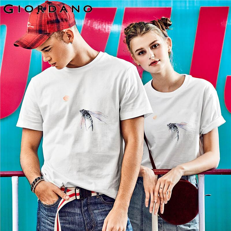 Giordano Women Tshirt Men CHEN HUI Series  Printed Fish Pattern Men T-shirt Women Couple Tees Short Sleeve Summer Camisetas