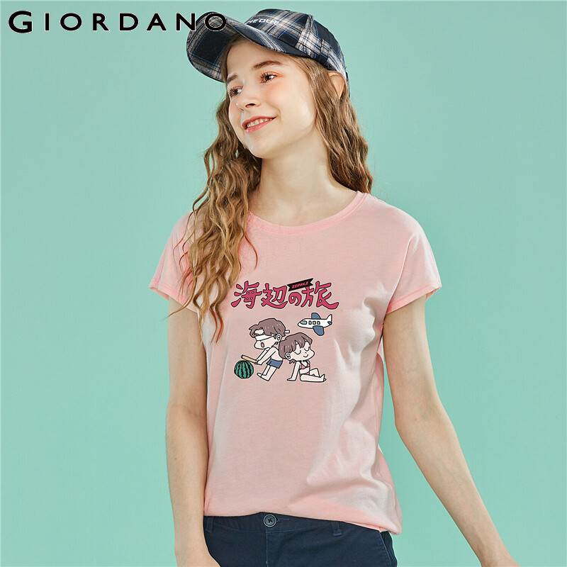 Giordano Women Tee Shirt Women Printing Graphic JOURNEY TO THE SEASIDE Themes T-shirt Women Summer Cool Tops Camisa Femenina