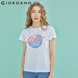 Giordano Women T Shirt Women Printed Letter Graphic Pure Cotton Tshirt Women Ribbed Round Neck Summer Tops Camiseta Mujer