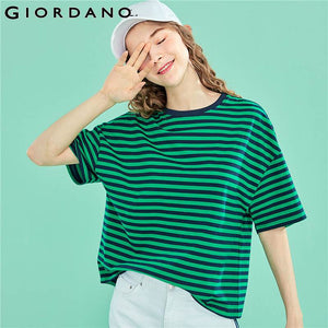 Giordano Women T Shirt Women Stretchy Stripes Tshirt Soft Tee Cool Tops Young Lady Camiseta Feminina Striped Tops Mujer