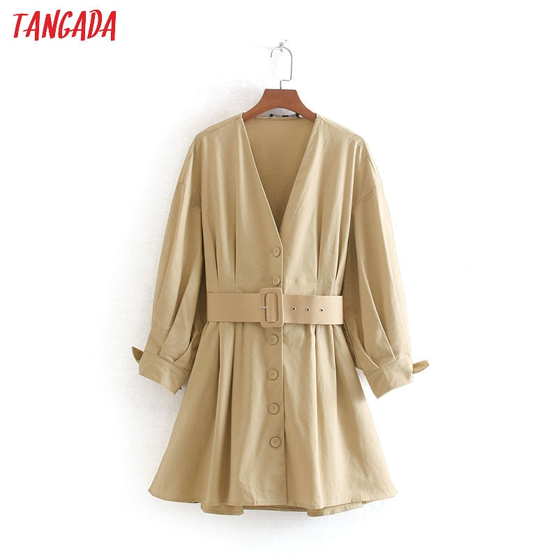 Tangada fashion vintage belt dresses women tunic v neck buttons long sleeve 2019 autumn winter mini dress vestidos CE168